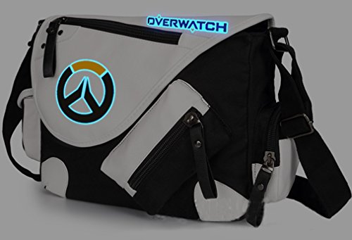 Overwatch Messenger Bag Single-shoulder Bag Luminous in Dark Satchel Bag (black)