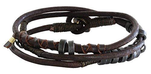 (Wakami Fire Leather Wrap Bracelet, 7 1/2