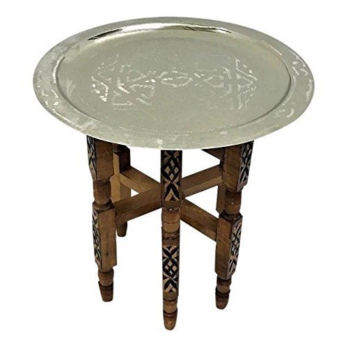 Engraved Small Silver Tray Table with Cedar Wood Base