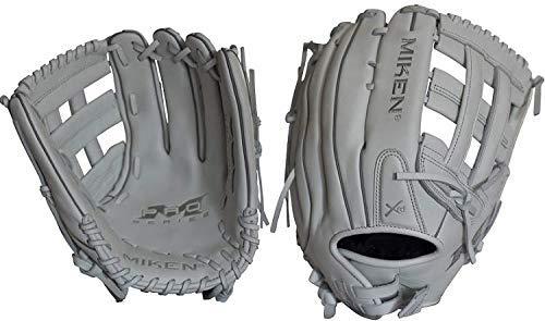 Miken Pro Series Slowpitch Softball Glove, 13 inch, White, Left Hand Throw