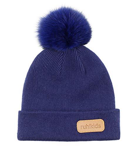 Connectyle Knit Kids Hat Cute Pom Pom Beanie Hats Cotton Ribbed Knit Warm Winter Beanies Ski Cap Navy Blue