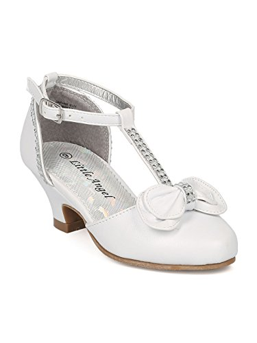 (Alrisco Girls Leatherette Bow Tie Rhinestone T-Strap Kiddie Heel HB70 - White Leatherette (Size: Toddler 5))