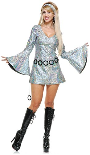 Charades Women's Sparkle Diva Disco Dress, Silver, ()
