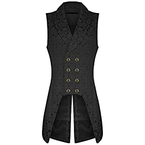Darkrock Men's Double Breasted Governor Vest Waistcoat VTG Brocade Gothic Steampunk