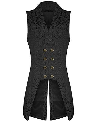 Darkrock Men's Double Breasted Governor Vest Waistcoat VTG Brocade Gothic Steampunk (5XL, Brocade)]()