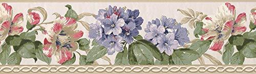 York Wallcoverings Pink Purple Flowers Green Leaves Alabaster White Wallpaper Border Retro Design, Roll 15' x 7