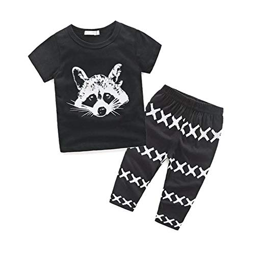WOCACHI Toddler Baby Boys Clothes, Newborn Kids Baby Boys Outfits T-Shirt Tops+Pants Clothes Set 90 Back to School Easter Egg Costume Parade Bunny Lily Eggs Roll Cushaw Basket Black ()