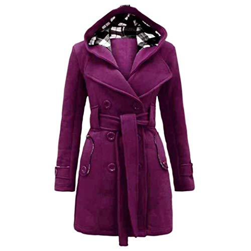 GOVOW Womens Warm up Cotton Jacket Winter Hooded Long Section Coat Belt Double Breasted Purple Double Stretch Oil Tan Belt