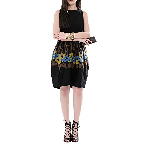 Everyday Elegance Women's Floral Bell Shaped Summer Dress with Pockets (Medium, Black) (Sailor Outfit Ebay)