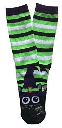 Black Cat in Witch Hat Striped Novelty Crew Sock Halloween ()