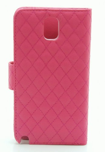 ZZYBIA® NOTE III 3 QHB Shocking Pink Leatherette Stand Case Card Holder Wallet with Off White Bear Fringed Dust Plug Charm for Samsung Galaxy Note III 3 N9000 N9005