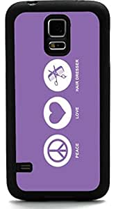 Rikki KnightTM Peace Love Hair Dresser Violet Color Design Samsung? Galaxy S5 Case Cover (Black Rubber with front Bumper Protection) for Samsung Galaxy S5 i9600 by lolosakes by lolosakes