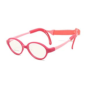 Children Glasses Frame Size 43 Ear Grips Strap Head Band Temple Locks Nose Pad Flexible Silicone Bendable Optical Kids Eyeglasses (rose)