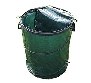 amgateeu 30L hoja de residuos de jardín cubo bolsa de jardinería de Pop Up con tapa de cremallera cerrada