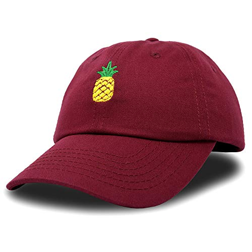 (DALIX Pineapple Hat Unstructured Cotton Baseball Cap in Maroon)