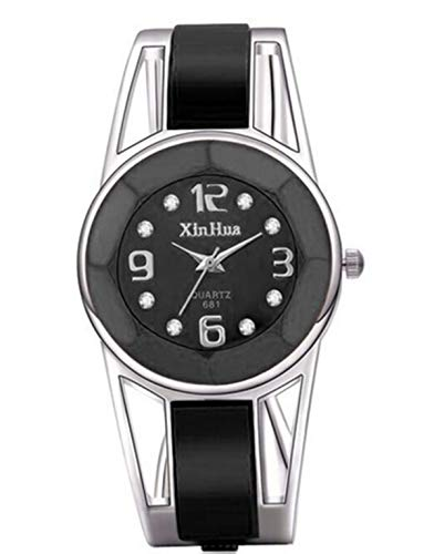 Vavna Womens Ladies Stainless Steel Black Dial Bracelet Bangle Wrist Watch Quartz (Diamond - Womens Black Dial Steel Bracelet