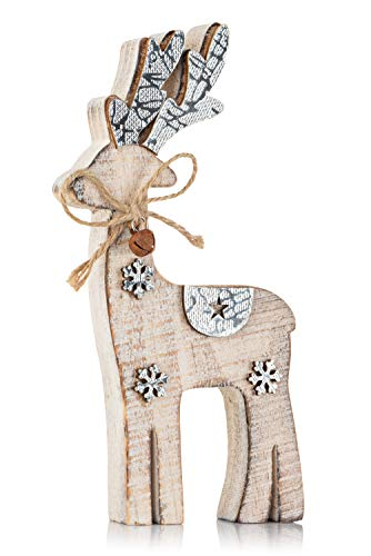 Zilo Novelties Reindeer Decor | Holiday Display Deer for Christmas Mantle, Centerpiece or Xmas Gift (Small)