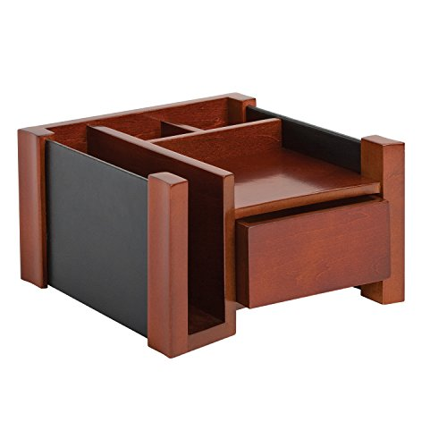 Rolodex Wood and Faux Leather Desk Director, Mahogany and Black (81767) - Mahogany Desk Caddy