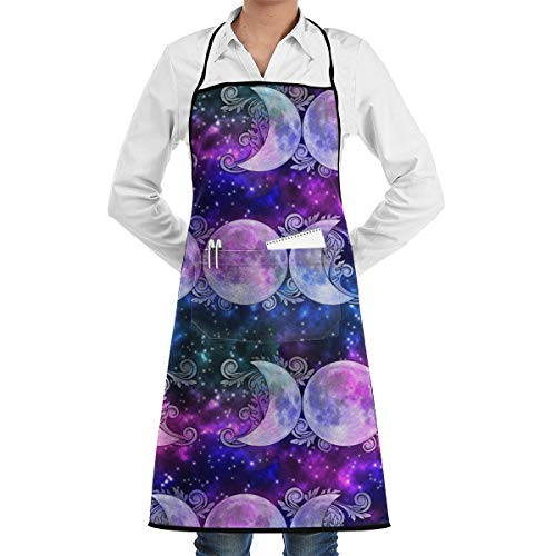JKEIL Triple Goddess Moons and Stars Apron with Pockets Locked for Kitchen Chef Artist Grill BBQ Shop Baking (20.5 X 28.3 Inches)