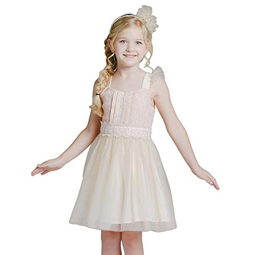YALINDARS Girls Dresses Sleeveless Puffy Flower Princess Tulle Dress, 3-9 Years