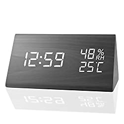 MEKO Digital Alarm Clocks for Bedrooms, with 3 Alarm Sets, 3 Levels Brightness, Dual Time(12/24) Mode, Weekday Set, Temperature and Humidity Wood Electronic LED Bedside Clock …