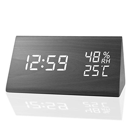 MEKO 자명종 디지탈 탁상시계 LED 캘린더 인테리어 온도 습도계 알람 멋쟁이 우드 우드 그레인 디자인 에너지 절약 음성 감지