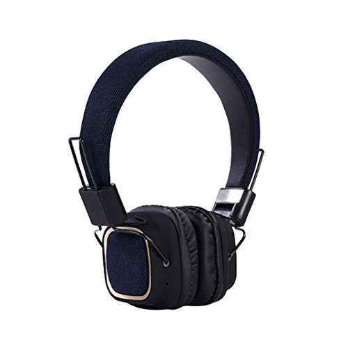 Price comparison product image Boofab Wireless Stereo Foldable Bass On-ear Headphones Over-ear Headsets Earphones with Microphone for Cellphones Smartphones iphone Laptop Tablet Mp4 Mp3 (Dark Blue)