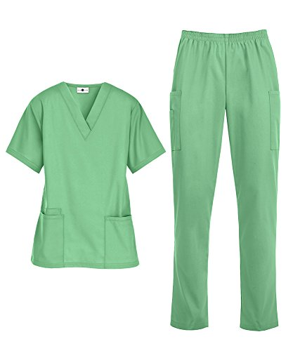 Women's Medical Uniform Scrub Set - Includes V-Neck Top and Elastic Pant (XS-3X, 14 Colors) (Large, Jade) ()