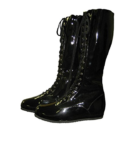Pro Wrestling Costume Boots (Medium Black)