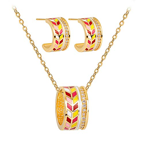 Price comparison product image BOOBODA New Jewelry Necklace Earrings Painted Set Romantic Fashion Classic Rhinestones Heart Necklace for WomenStyle C