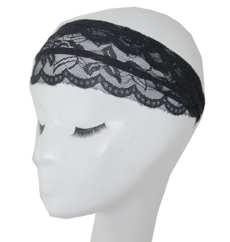 Lace Hair Bands Gray Sheer Lace Headband with Tapered Cut and Scalloped Edge - Sheer Simplicity Headband (black)