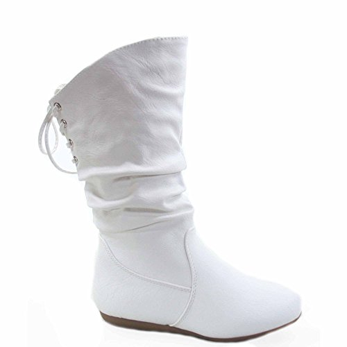 Lucky Top Bank-53k Girl's Kid's Fashion Back Lace Zipper Flat Heel Round Toe Boots Shoes (10, White)