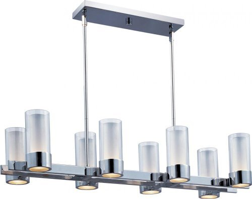 Maxim Lighting 23079CLFTPC Silo 8-Light Island Pendant, Polished Chrome Finish with Clear/Frosted Glass by Maxim Lighting (Eight Light Pendant Finish)