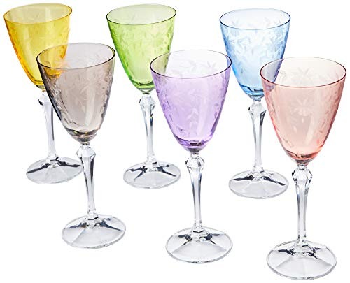 Crystal Glasses Wine Colored - Bohemia Crystal Etched and Colored Crystal Wine Glasses, Set of 6, 8.5 ounces, Multicolor