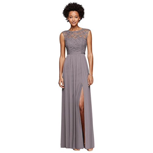 David's Bridal Long Bridesmaid Dress with Lace Bodice Style F19328, Portobello, 2 by David's Bridal