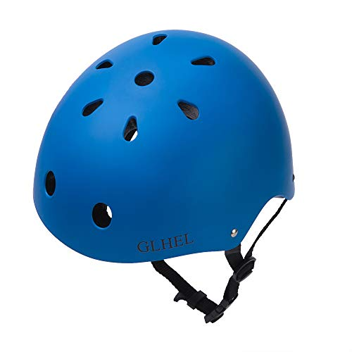 GLHEL Skateboard Helmet Impact Resistance Safe Helmet Multi Sport for Bike, Skates, Skateboards Scooter Certified CPSC Adult Kids Adjustable Dial Helmet with Multiple Colors Sizes