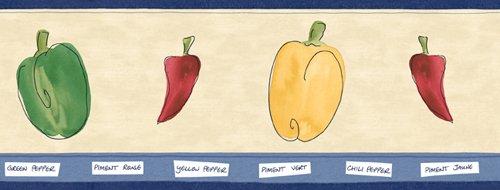 Hot Peppers Gardening Wallpaper Border: Pattern FT017107B… ()