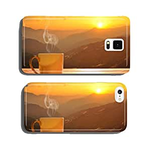 Morning cup of coffee with mountain background at sunrise cell phone cover case iPhone6
