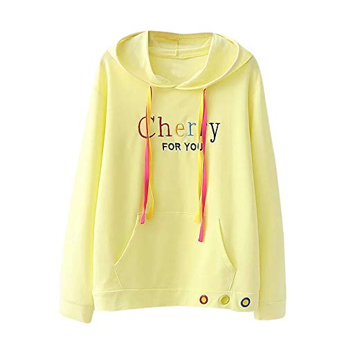 Offers Embroidery - Womens Long Sleeve Letter Embroidery Hoodie Sweatshirt Pullover Kangaroo Pocket
