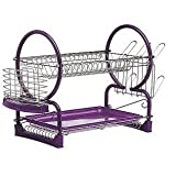 2 TIER DISH DRAINER CUTLERY PLATES TRAY RACK HOLDER CHROME PURPLE NEW by Bosco