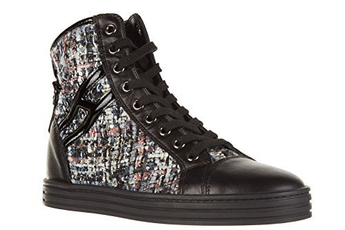 Hogan Rebel scarpe sneakers alte donna in pelle nuove rebel r182 nero