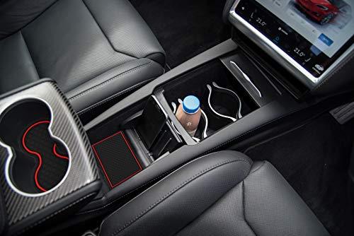 BASENOR Tesla Model X Cup, Door, Console Liner Accessories 7-pc Set (Black Red)