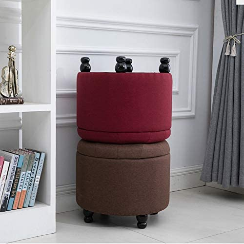 LSXIAO Ottoman Storage Chest Cylindrical Shoe Bench Multi-Function Storage Box Stable Load Bearing Cloth Sofa Bench
