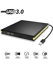 USB 3.0 External DVD Drive, Portable CD DVD Drive Player External CD Burner Reader Writer Disk Drive for Laptop Desktop MacBook Mac OS Windows 10 8 7 XP Vista