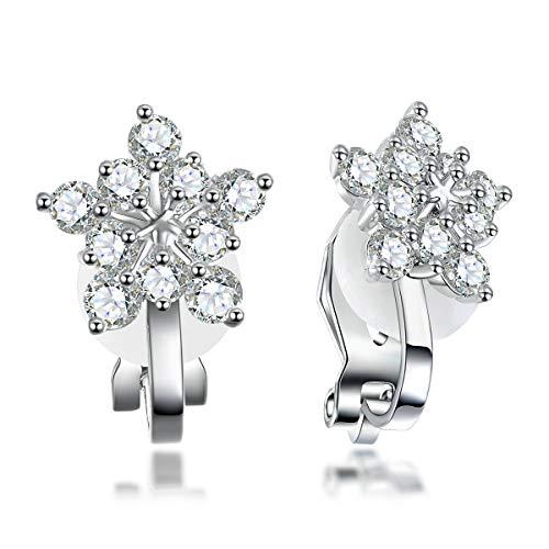 LAXPICOL Silver Tone Lovely Winter Snowflake CZ Zircon Clip-on Earrings No Piercing