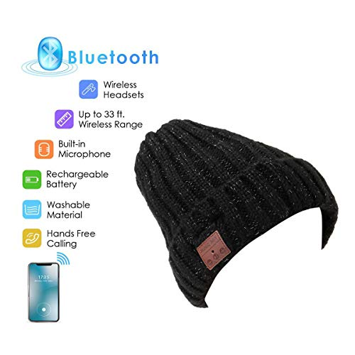 Bluetooth Beanie, Yokon Wireless Bluetooth Knit Hat Music Cap Hands-Free Phone Call Answer Ears-Free Beanie Hat