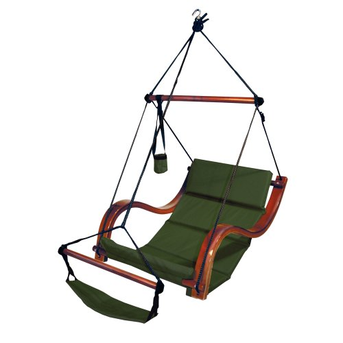 (South Mission Sky Air Lounger Porch/Patio Swing with Wooden Armrest - Green)