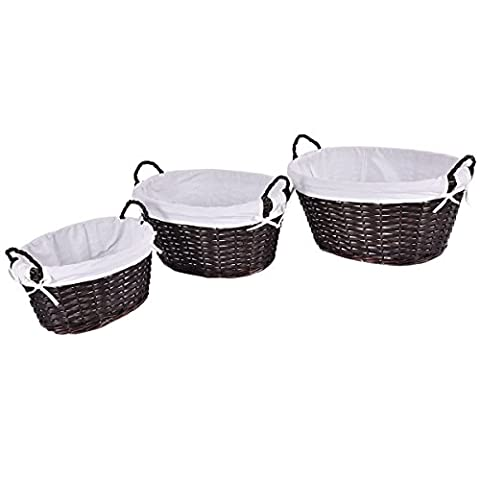 Set Of 3 Oval Hand-woven Willow Wicker Storage Basket Organizer w/ Lining New - Hand Woven Oval Basket