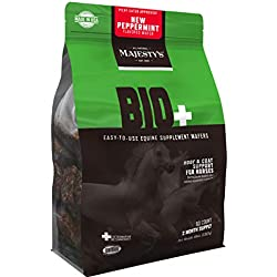 Majesty's Bio+ Peppermint Wafers - Horse/Equine Hoof & Coat Support Supplement - Pure Biotin, Lysine, Methionine, Zinc - Healthier Coats/Hair/Skin & Stronger Hooves - 2 Month Supply (1 Bag/60 Count)