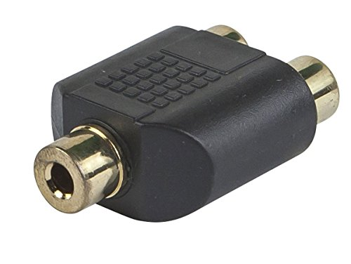 Monoprice 107190 3.5mm Stereo Jack to 2 RCA Jack Splitter Adaptor, Gold Plated (2 Pack)